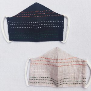 Cotton mask with Kantha Tricolor